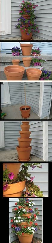 pyramid of flower potsGardens Ideas, Summer Projects, Flower Pots, Clever Crafts, Gardens Glories