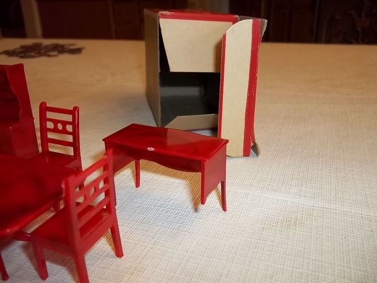 VINTAGE ALLIED PLASTIC DOLLYS FURNITURE DINNING ROOM SET No 300/3 BOXED | eBay