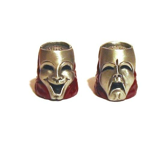 Perfect for #costume designers! Comedy Tragedy Mask Thimble Pewter by ThimblesnObjectDart on Etsy, £8.99