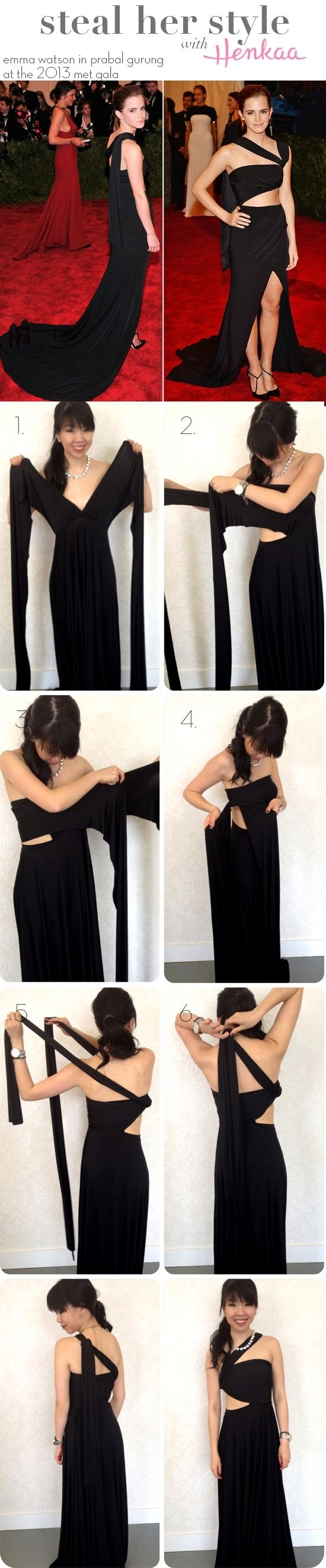Steal Emma Watson's Style - Reuse that convertible dress by wrapping it in a red carpet ready cutout style! by Banphrionsa