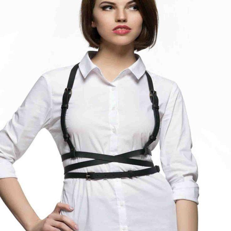 leather suspenders women harness cross cover body bondage designer female handmade wait belts
