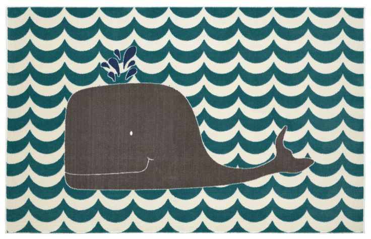 Aurora Oh Whale Teal Area Rug