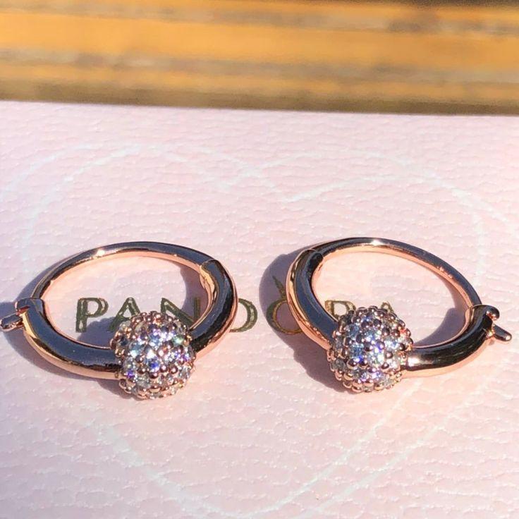 >>>Pandora Jewelry 60% OFF! >>>Visit>> Pandora Rose Pave Bead Hoop Earrings Fashion trends Fash ...