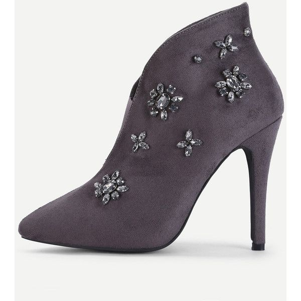SheIn(sheinside) Rhinestone Flower Embellished Heeled Boots (10.930 HUF) ❤ liked on Polyvore featuring shoes, boots, grey, grey high heel boots, stiletto heel boots, gray boots, stiletto boots and pointy-toe boots