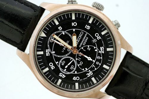 new product 2c627 1f8b1 SPORTY SEIKO 7T92 0JS0 MENS BLACK DIAL CHRONOGRAPH GOLD DATE ...