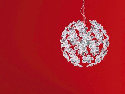 Suspension 5 lumières forme bouquet de fleurs en métal chromé diamètre  60 cm FLEURS