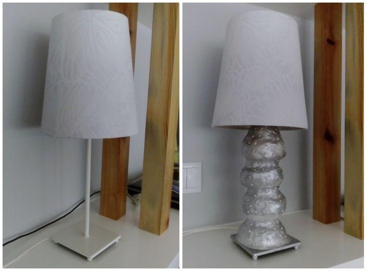 candeeiro de mesa do ikea reciclado pasta de papel para a base pintado