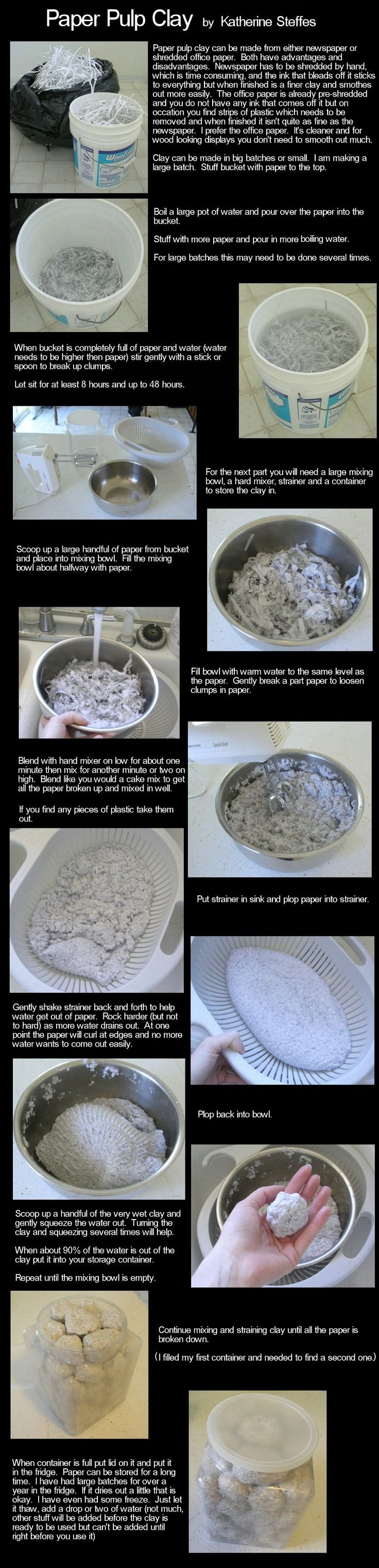 http://www.enchantedbeings.com/tutorials/paperpulpcombo1.jpg  paper clay using either office shred or newspaper shred and water. Has to soak for couple of days.