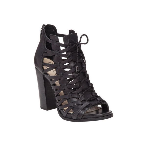 Women's Jessica Simpson Riana Caged Sandal ($119) ❤ liked on Polyvore featuring shoes, sandals, black, cage shoes, casual, high heel sandals, lace up sandals, leather sandals, zip back sandals and summer sandals