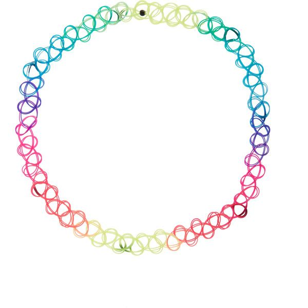 Monsoon Neon Ombre Woven Plastic Choker Necklace ($6) ❤ liked on Polyvore featuring jewelry, necklaces, accessories, choker, tattoo necklace, braided necklace, tattoo jewelry, holiday jewelry and choker necklace