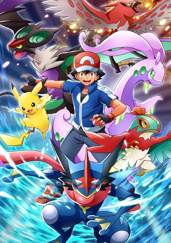 Pokemon Anime X Y Ash Pikachu And Team Anime Art Poster Size 1824 1242762 Pok Pokemon Poster Pokemon Firered Cool Pokemon Wallpapers