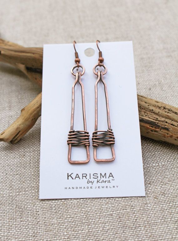 Copper Rectangle Drop Earrings Oxidized от Karismabykarajewelry