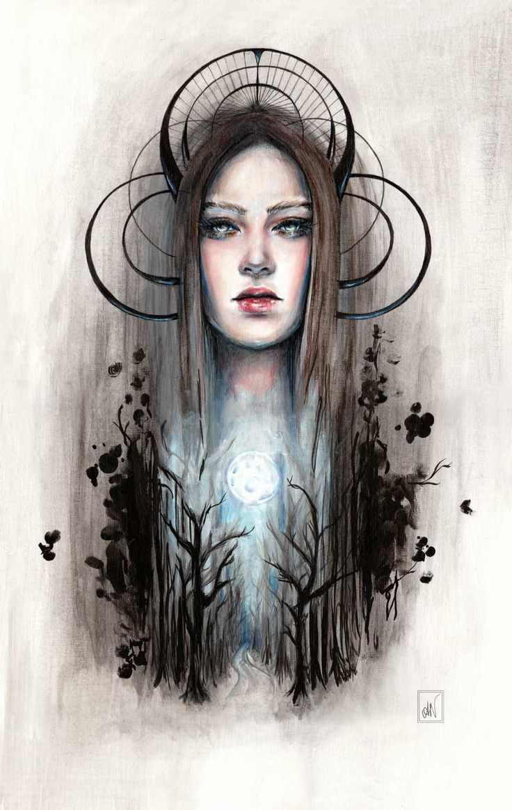Greek goddess Artemis inspired painting. Goddess of the hunt, wilderness and the moon (@alicianilssoncreates)