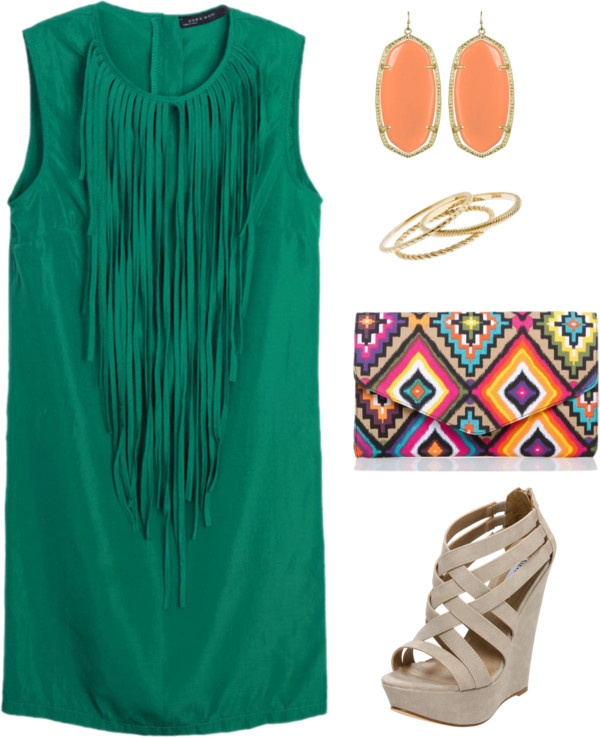 Classy: Date Night, Shoes, Color, Clutches, Outfit, Fringes Dresses, The Dresses, Summer Night, Green Dresses