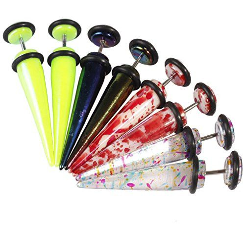 BodyJ4You® Fake Tapers Kit Glossy Multi-Color 0G Gauges Look Gauges Piercing Jewelry Set 8 Pieces