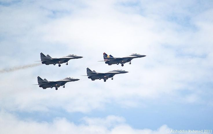 The Smokey Bandits are the current Royal Malaysian Air Force (RMAF) aerobatic display team. They fly with five MiG-29N/NUB fighters, using another one as a spare. All the team's aircraft are painted in a standard gray camouflage scheme.Based at Kuantan, the Smokey Bandits aerobaticteam is a ...