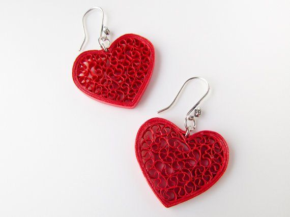 Cute Valentine's Day special quilling earrings