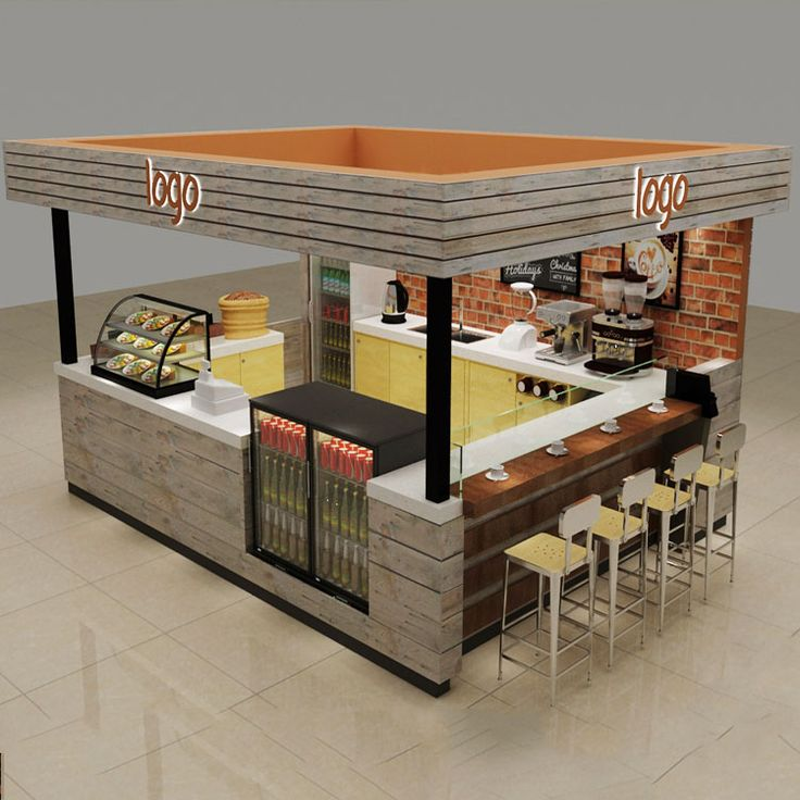 Solid Wood Coffee Kiosk With Bar Counter Coffee Shop
