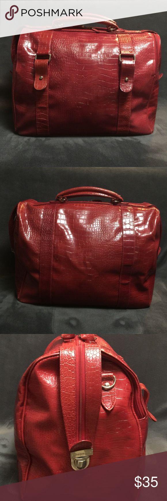 Red croc embossed Bed Bath and Body weekender bag. Zip