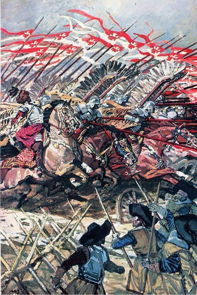 Hussars charge at the Battle of Kircholm 1605. Fig. M. Bylina.