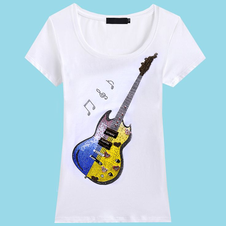LIKEPINK 2016 Summer T Shirts For Women Clothing Cotton T-Shirt Women Guitar Handmade Printed Vetement Femme De Marque