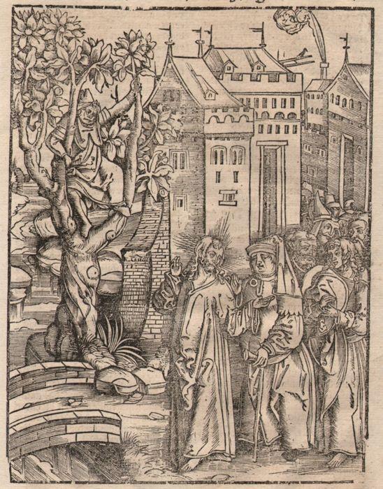 Hans Franck (1485-1522) - Christus encountering Zacheüs de tollenaar-tussen 1509-1517  20 x 1520 cm op de grens van de houtsnede in een vel van 30 x 21 cm...Het volledige blad is in zeer goede conditie voor haar leeftijd (meer dan 500 jaar!)Twee oude gekleurd initialen en het stempel van de verzameling van Albert Van Loock. (L.3751)Christus encountering Zacheüs de tollenaar; Zacheüs zittend in een boom aan de linkerkant; Christus gevolgd door de apostelen en sommige Farizeeën buiten Jericho…
