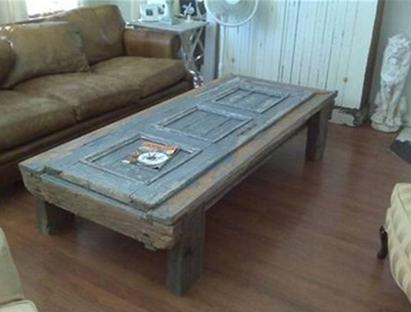 Old Door Made Into A Table With Reclaimed Wood Wood Craft Ideas Pinterest Old Doors