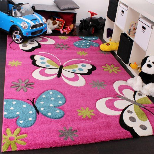 Tappeto Bambina Per Stanza Bambini Con Farfalla E Fiori
