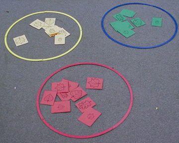 Herfst sorteerspel met verschillende vormen van bladeren in verschillende kleuren