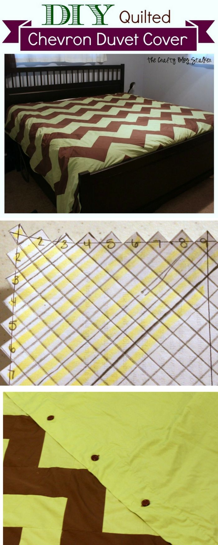 Learn how to sew your own Quilted Chevron Duvet Cover. Make your first quilt with this easy DIY craft tutorial idea for an updated bedroom.