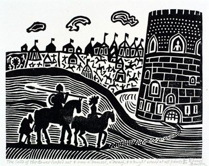 Edward Bawden  'The Lord of the Tower Looked Out and Saw a Damsel, a Dwarf and a Knight Armed at all Points'  1982  Print, for 'The Chronicles of King Arthur' by Sir Thomas Malory (London: Folio Society, 1982)
