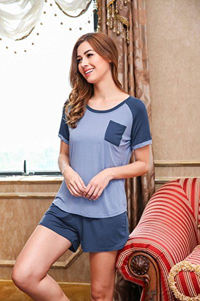 a17a63457931b3 HOTOUCH Damen Schlafanzug Pyjama Shorty Mit Shorts & Shirt Nachtwäsche  Kurzarm Sleepwear Schwarz/Blau/