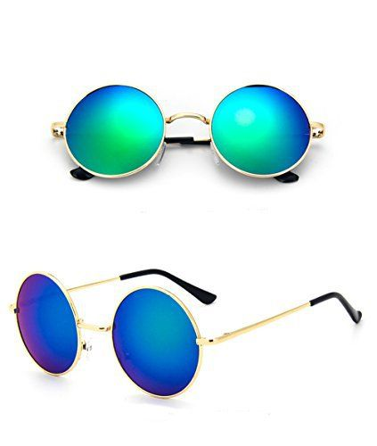 Chic-Net sunglasses Unisex Round hippie glasses John Lennon tinted 400UV long jetty blue green The Unisex Hippie Glasses, also known as John Lennon glasses or goggles, there are many variations. The John Lennon sunglasses has a stable, thin frame with handle caps, round glasses, and a long, thin web of front either shows a kink or only slightly curved. Particularly enjoyable are the flexible nose piece that fit when worn individually shape of the nose. The hippie glasses hav