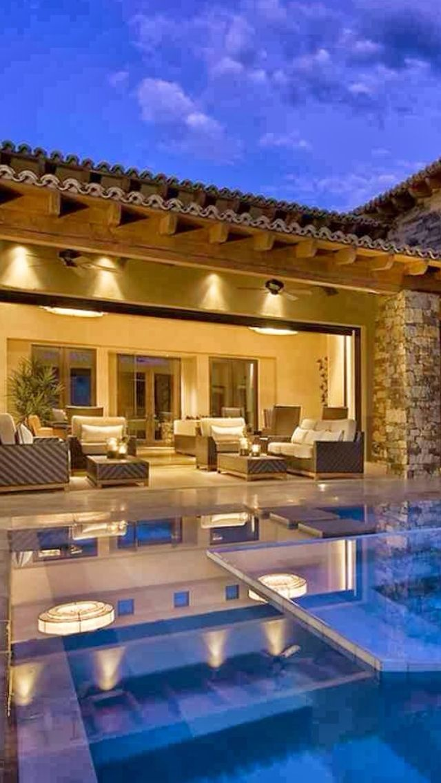 luxury homes with pools luxurydotcom via houzz - Big Houses With Pools Inside The House