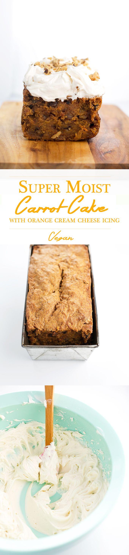 Super Moist Carrot Cake with Orange Cream Cheese Icing // Simple, 100% Vegan and 500% Delicious. #vegan #carrotcake #dessert #baking #simple #recipes