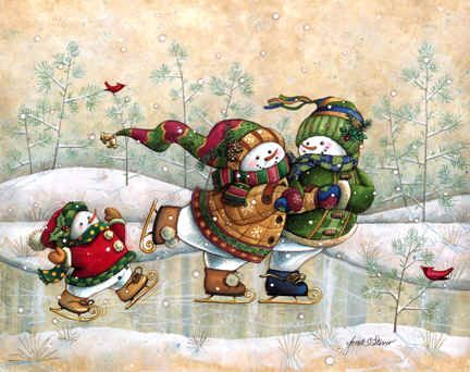 """Skater's Holiday"" by Janet Stever ~ snow people"