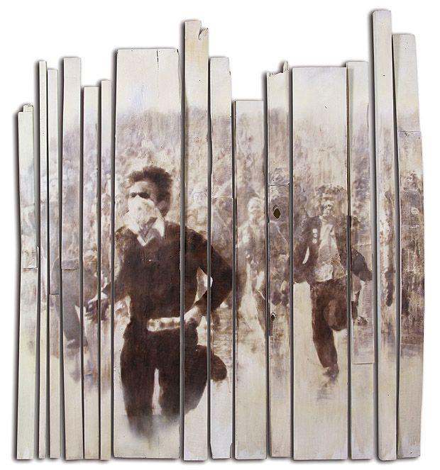 GRACIELA SACCO: De la Serie Cuerpo a Cuerpo, 1998. Heliografía sobre maderas encontradas, instalación. © Colección Jozami