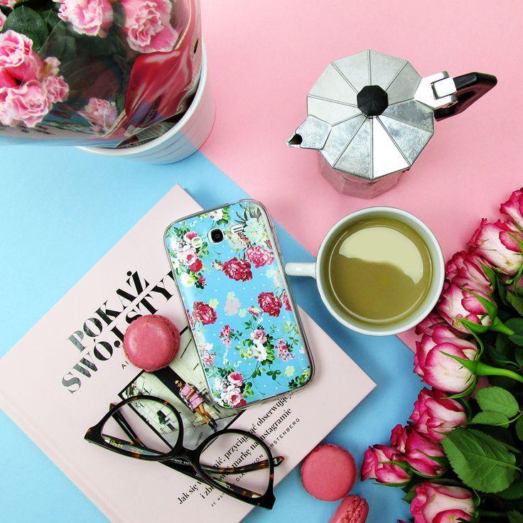 Samsung Galaxy Grand Neo - etui na telefon Fantastic Case - różyczki na miętowym tle   Samsung Galaxy Grand Neo - phonecase with pastels flower #case #flatlay #flower #accesories #etui #etuidotelefonu