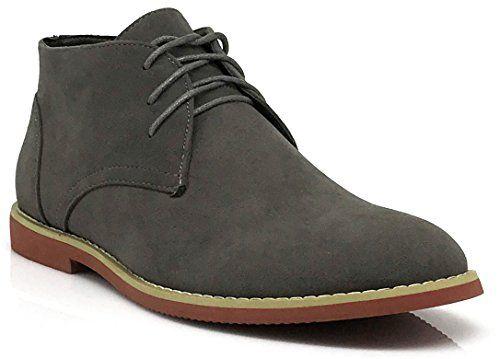 Men Classic Chukka Desert Oxfords Boots (Dkt) (13, Gray)