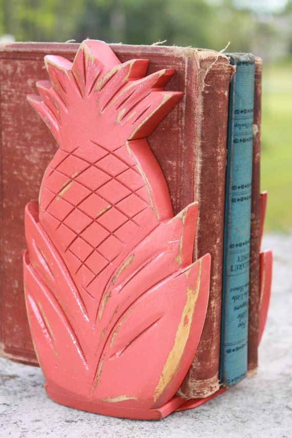 Upcycled Orange Wooden Pineapple Bookends - Shabby Chic Distressed - Boho Beach - Funky Home Decor