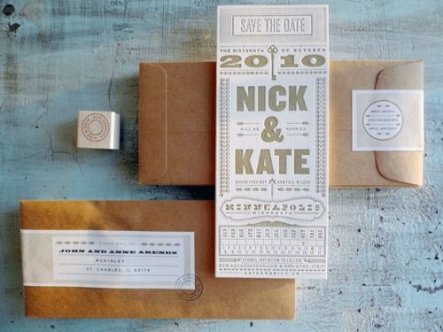 Gold + Typography Letterpress Save the Dates by Kate Gabriel