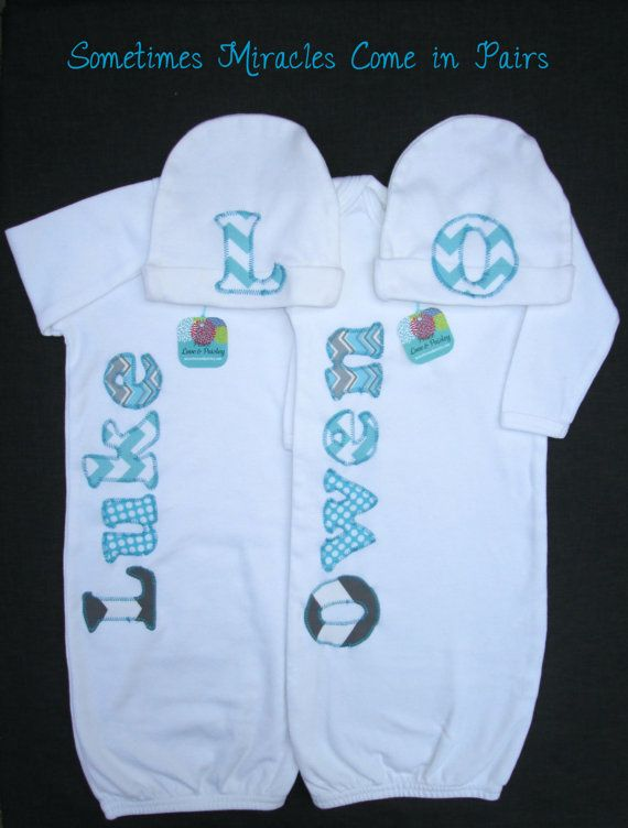 The 25 best twin baby gifts ideas on pinterest twin clothes twin boy going home outfits twins baby shower gift personalized baby gown and hat set new baby gift twin baby outfits negle Images