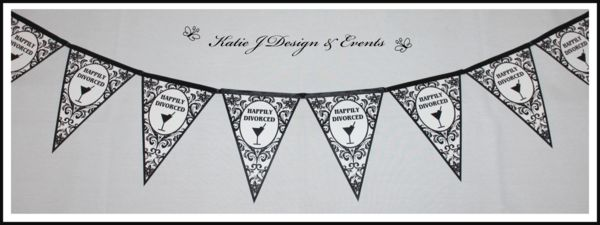 Divorce Party Bunting Banners #Black #and #White #Floral #Damask #Elegant #Divorce #Separation #Night #Shower #Personalised #Custom #Party #Decorations #Beautiful