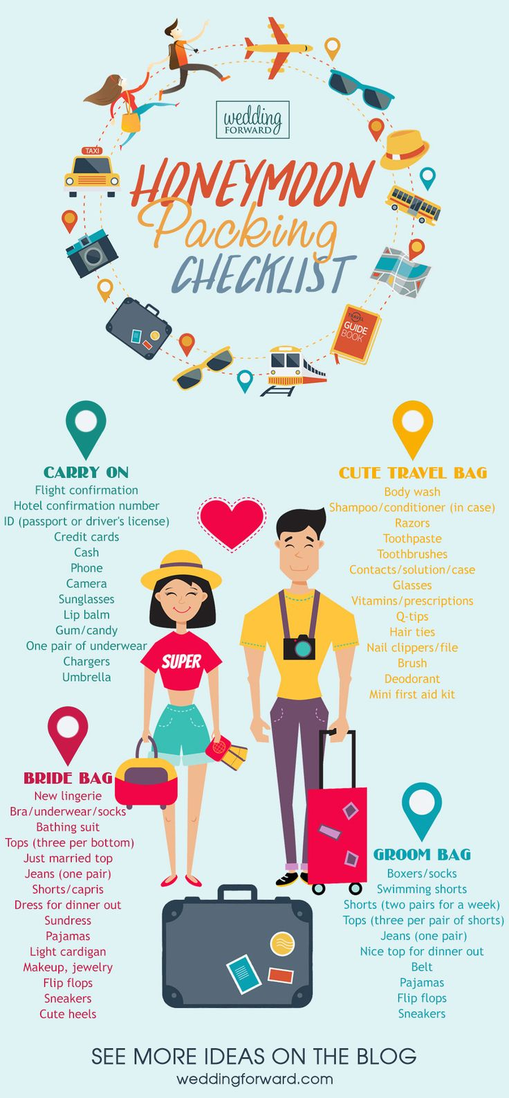 Honeymoon Essentials Packing Guide ❤ See more: http://www.weddingforward.com/honeymoon-essentials-packing-guide/ #weddings