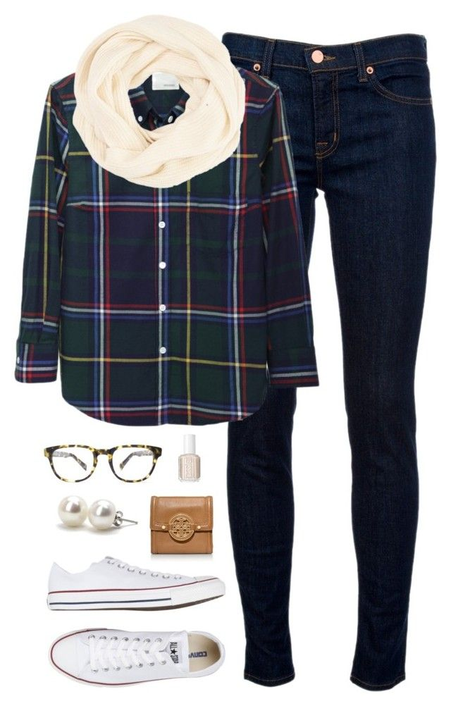 """""""plaid for fall"""" by classically-preppy ❤ liked on Polyvore featuring J Brand, Band of Outsiders, Converse, Warby Parker, Tory Burch, Essie and Bounkit"""