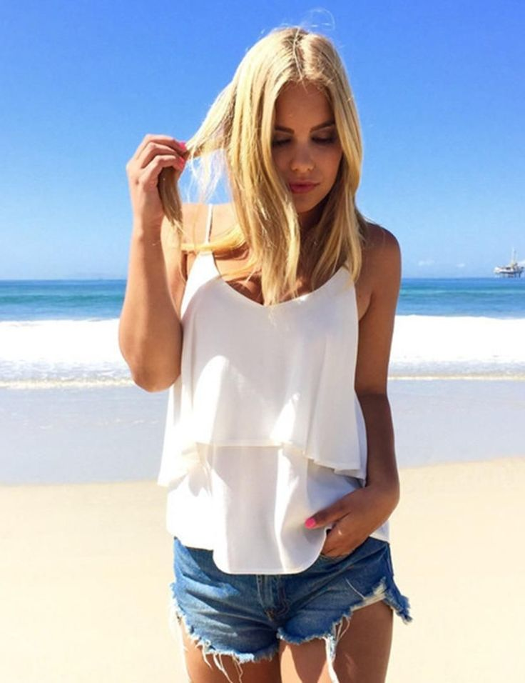 Women V Neck Sleeveless Chiffon Summer Casual Strap Shirt Tank Vest Tops Blouse