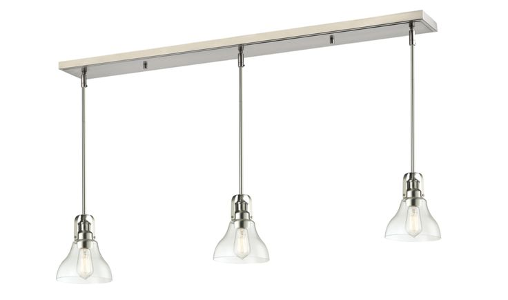 Rustic Contemporary Forge Brushed Nickel Pool Table Light