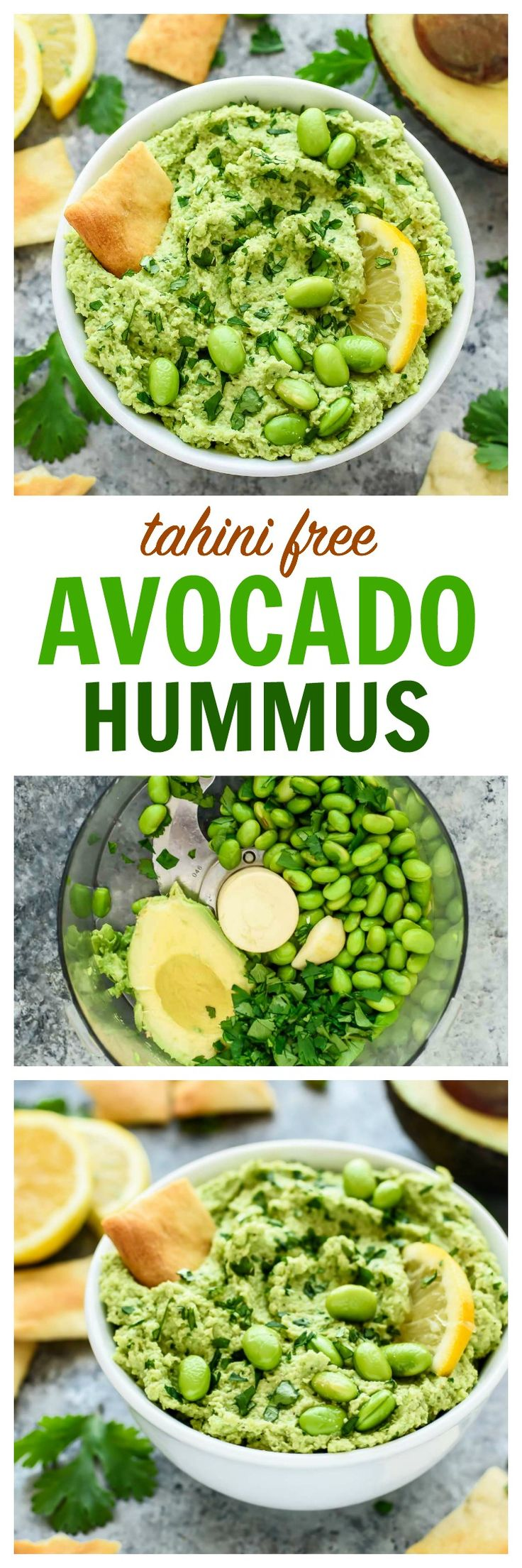 With this easy tahini-free avocado hummus recipe, you don't need tahini to create a super flavorful hummus dip! Made with avocado, edamame, fresh lemon, and garlic. Vegan, gluten free, and packed with flavor! www.wellplated.com @wellplated