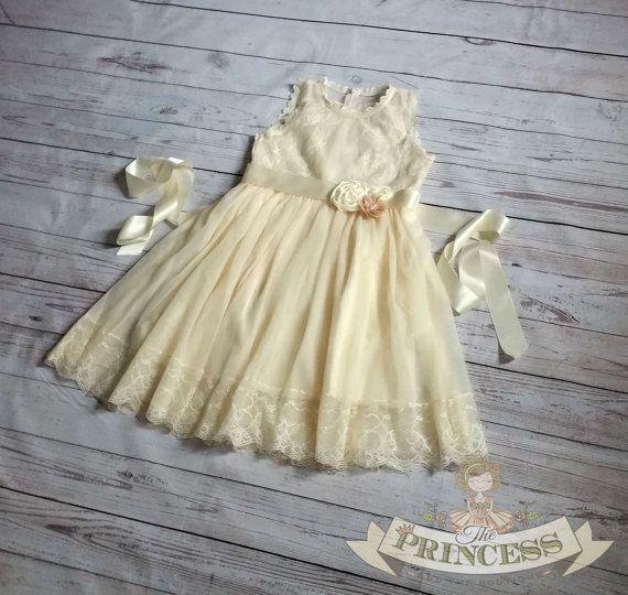 Champage flower girl dress baby dress by Theprincessandthebou