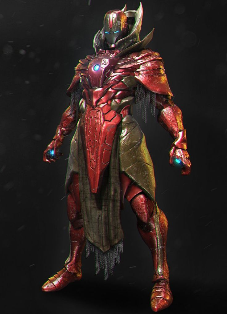 """cybercircuitz:  cyberclays:  Iron man knight - fan art by mars …  Follow for more corporate approved content. Remember, corporate """"loves"""" you.   Esta peculiar representación de Iron Man, nos muestra el alter ego de Tony Stark con un diseño místico del personaje, parece un doctor extraño tecnológico con armadura."""